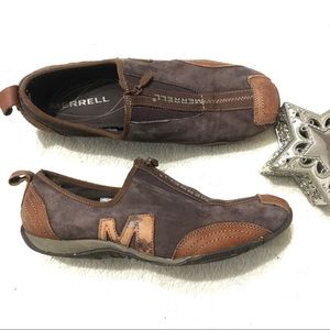 MERRELL Barrado Brown Leather Zippered Shoes 9